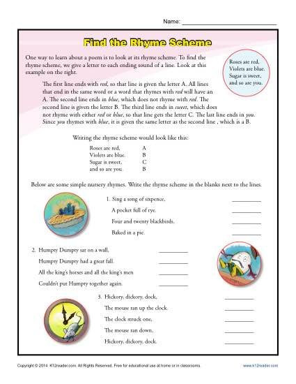 Poetry Worksheets for High School Find the Rhyme Scheme Poetry Worksheets