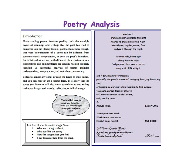 Poetry Worksheets for High School Free 7 Sample Poetry S Analysis Templates In Pdf