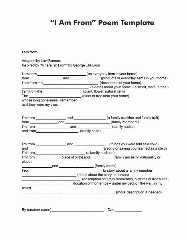 Poetry Worksheets for High School I Am Poem Worksheet New I Am Poem Examples for High School