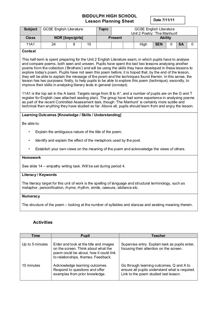 Poetry Worksheets for High School Sample Lp 1 Y11 Poetry