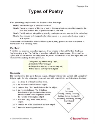 Poetry Worksheets for High School Types Of Poetry Printable 5th 8th Grade Teachervision