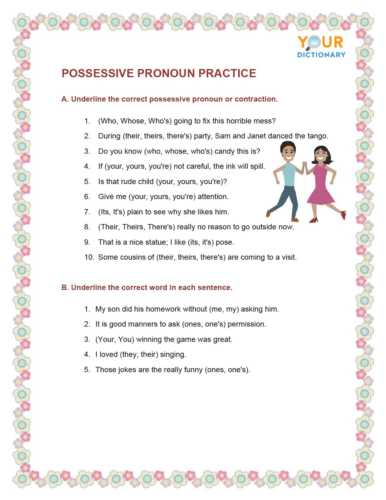 Possessive Pronouns Worksheets 6th Grade Types Of Pronouns Worksheets