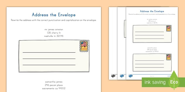 Practice Writing Addresses Worksheets Address the Envelope Activity Teacher Made