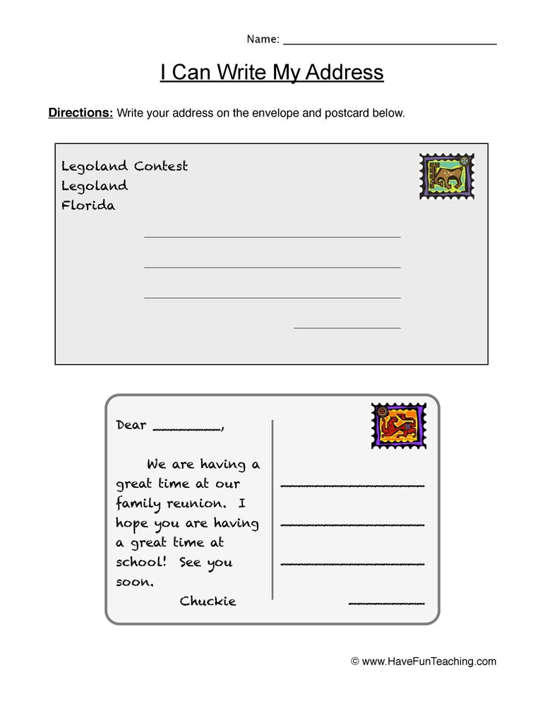 Practice Writing Addresses Worksheets My Address Envelopes and Letters Worksheet