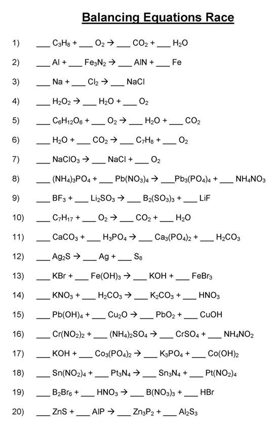 Practice Writing Chemical Equations Worksheet Balancing Chemical Equations Mr Durdel S Chemistry