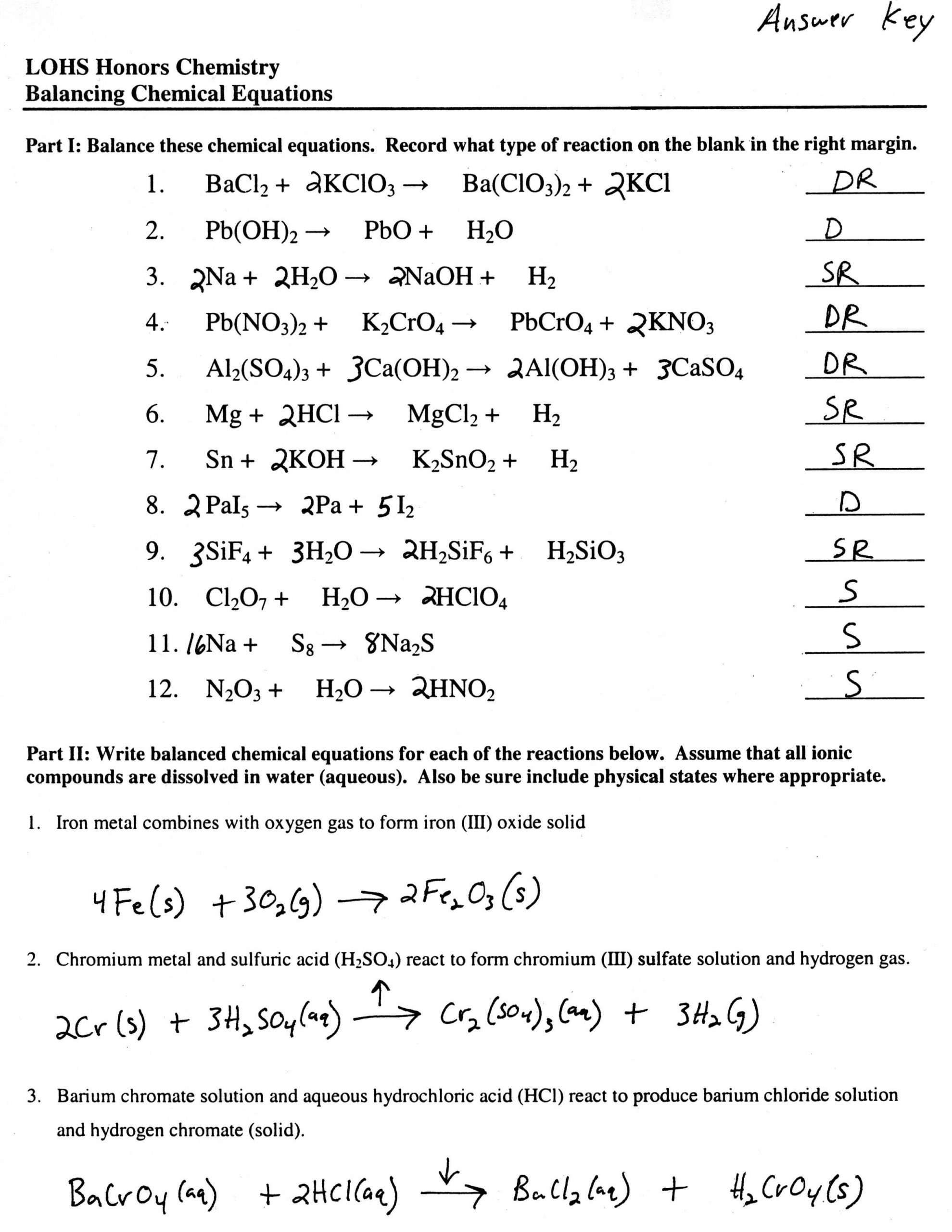 Practice Writing Chemical Equations Worksheet Balancing Equations Worksheet In 2020