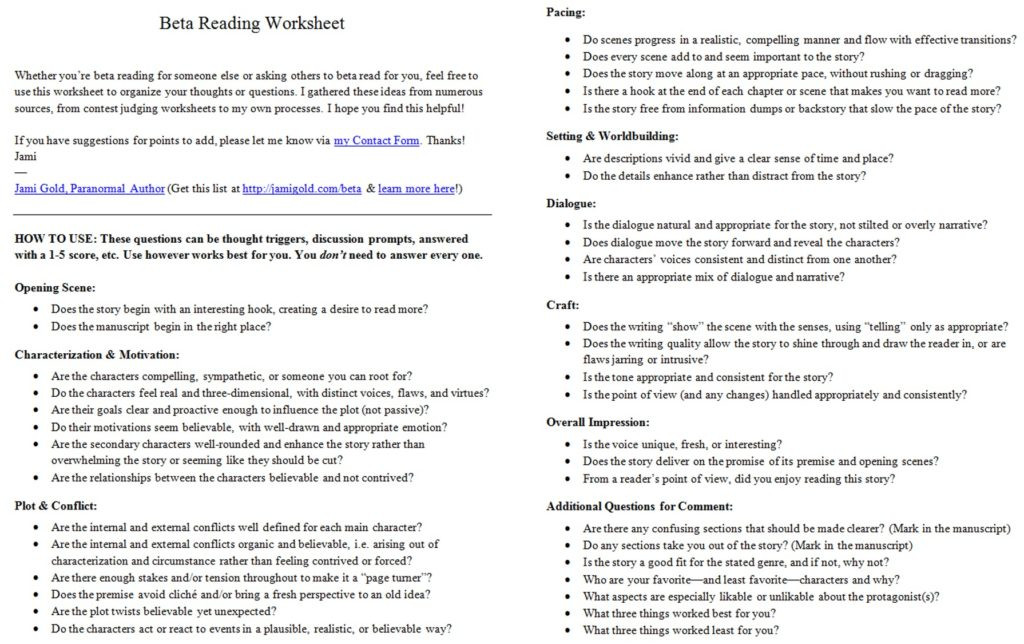 Practice Writing Hooks Worksheet Worksheet Beta Reading Worksheet and Manuscript Writing