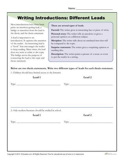 Practice Writing Hooks Worksheet Writing A Hook Handout