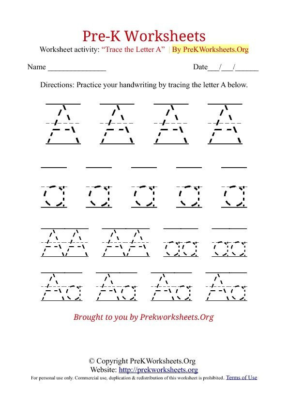 Pre K Letters Worksheets Lowercase Letter A Tracing 791x1024 Alphabet Tracing