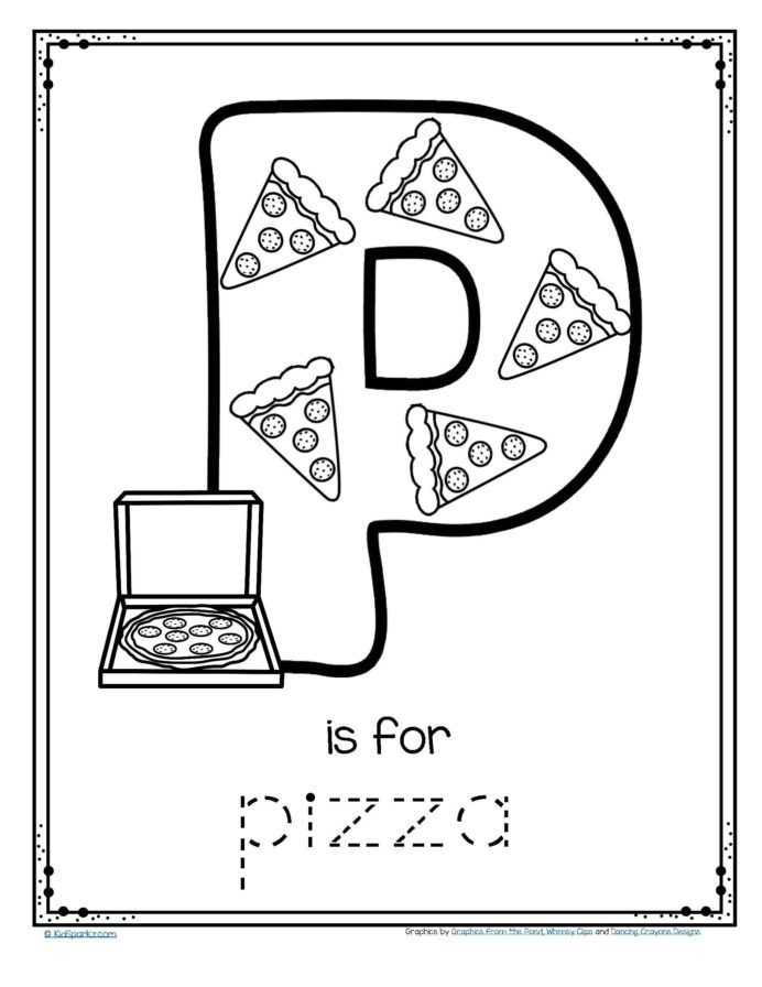 Pre K Worksheets Alphabet Tracing Free is for Pizza Alphabet Trace and Color Printable From