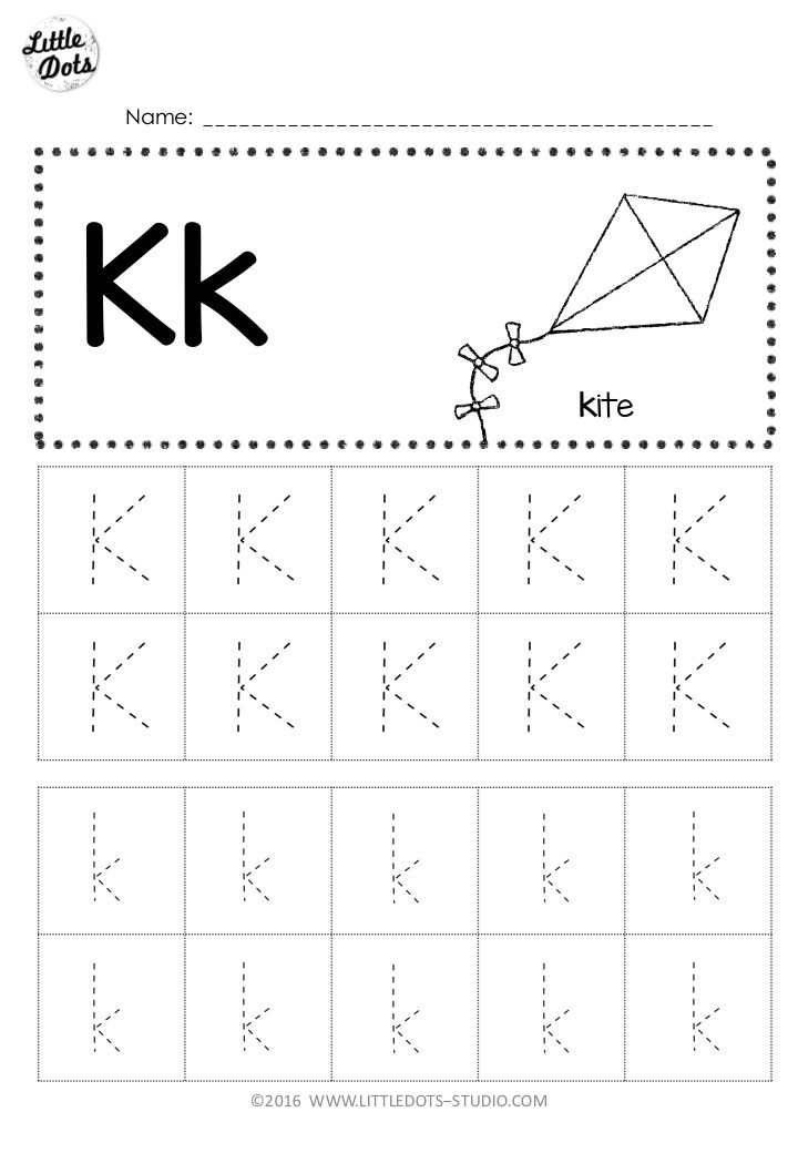 Pre K Worksheets Alphabet Tracing Free Letter K Tracing Worksheets