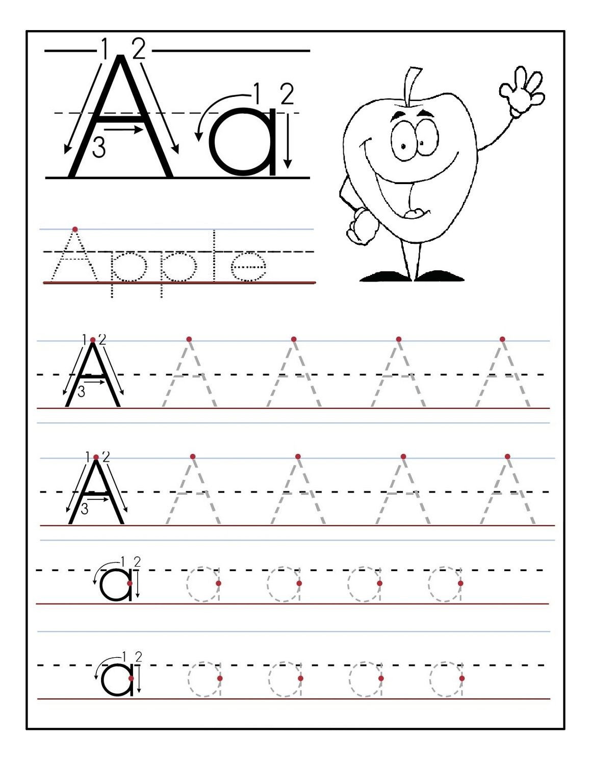 Pre K Worksheets Alphabet Tracing Trace Letter A Sheets to Print