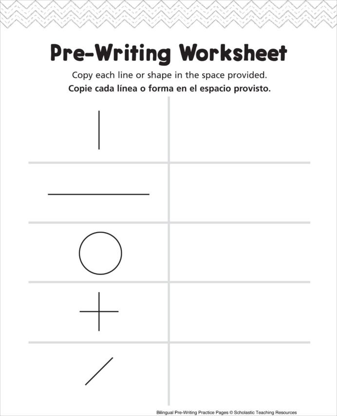 Pre Writing Strokes Worksheets Pre Writing Worksheet Bilingual Practice Handwriting Shapes
