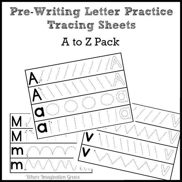 Pre Writing Strokes Worksheets Prewriting Letter Practice Pack A to Z Paypal