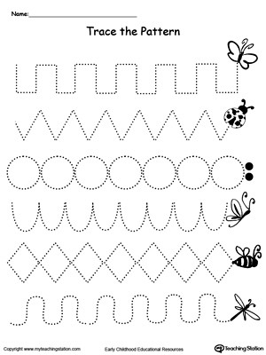 Pre Writing Strokes Worksheets Trace the Pattern Bug Trail