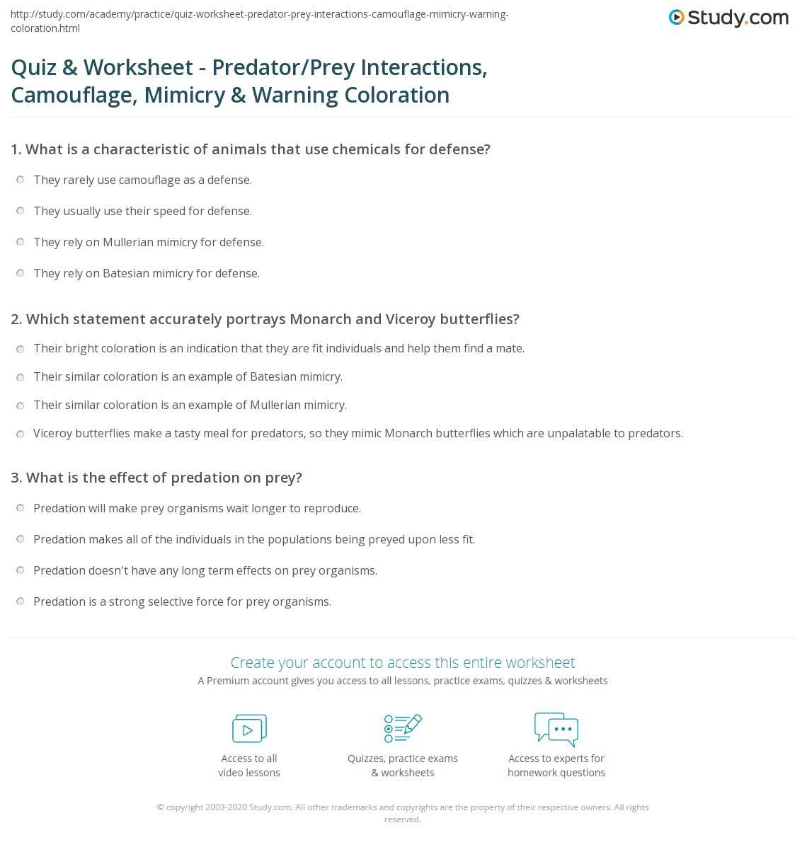 Predator Prey Worksheet High School Quiz & Worksheet Predator Prey Interactions Camouflage