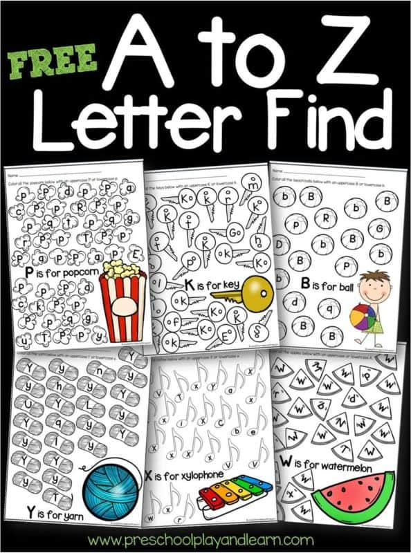 Preschool Alphabet Worksheets Az Free A to Z Letter Find Worksheets