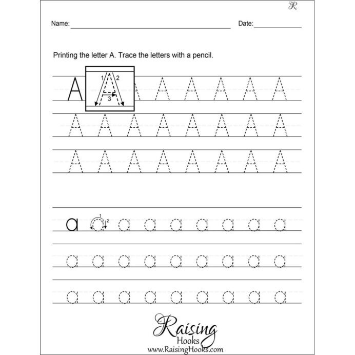 Preschool Alphabet Worksheets Az Tracing Each Letter Worksheets Raising Hooks Alphabet