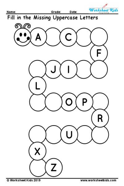 Preschool Alphabet Worksheets Az Uppercase Missing Alphabet Worksheet A to Z Free Printable Pdf
