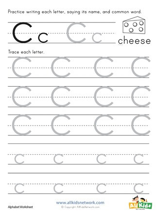 Preschool Letter C Worksheets Letter C Tracing Worksheet