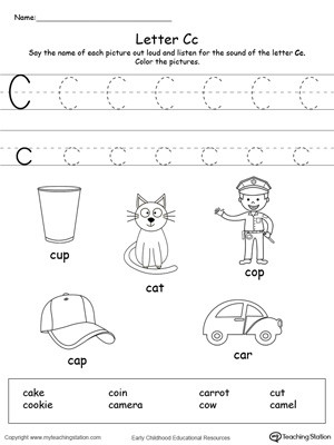 Preschool Letter C Worksheets Words Starting with Letter C