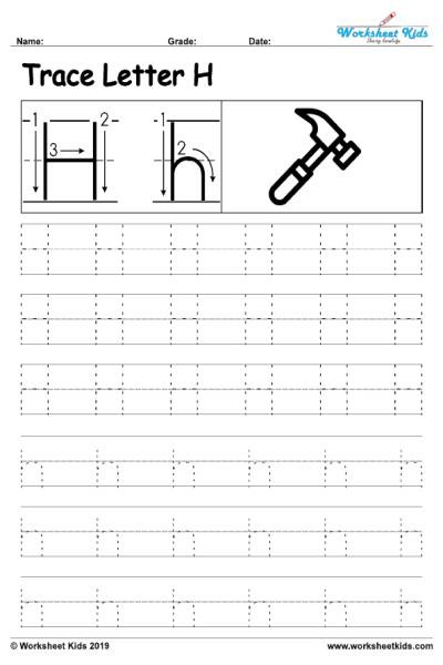 Alphabet letter H writing practice sheet 001