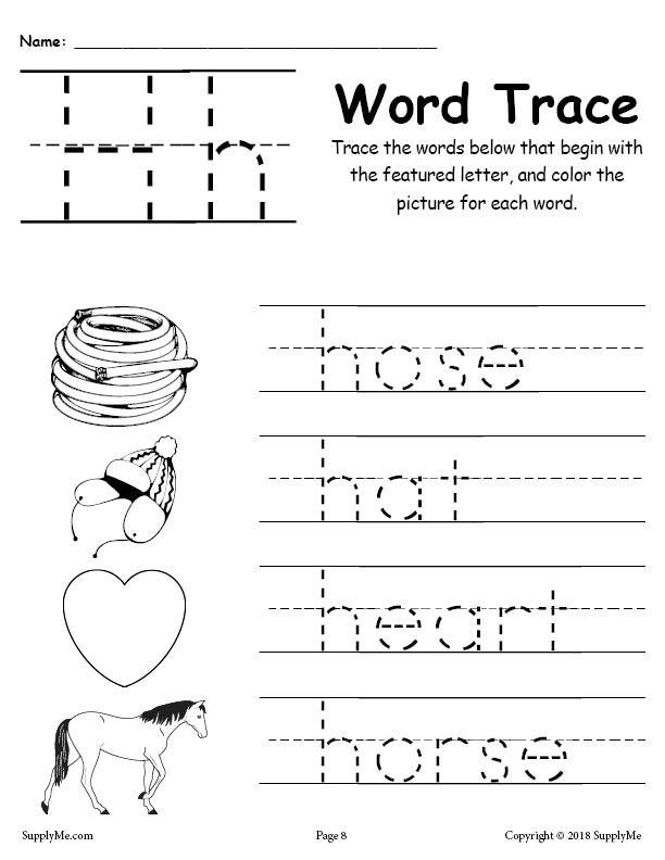 Preschool Letter H Worksheet Letter H Words Alphabet Tracing Worksheet