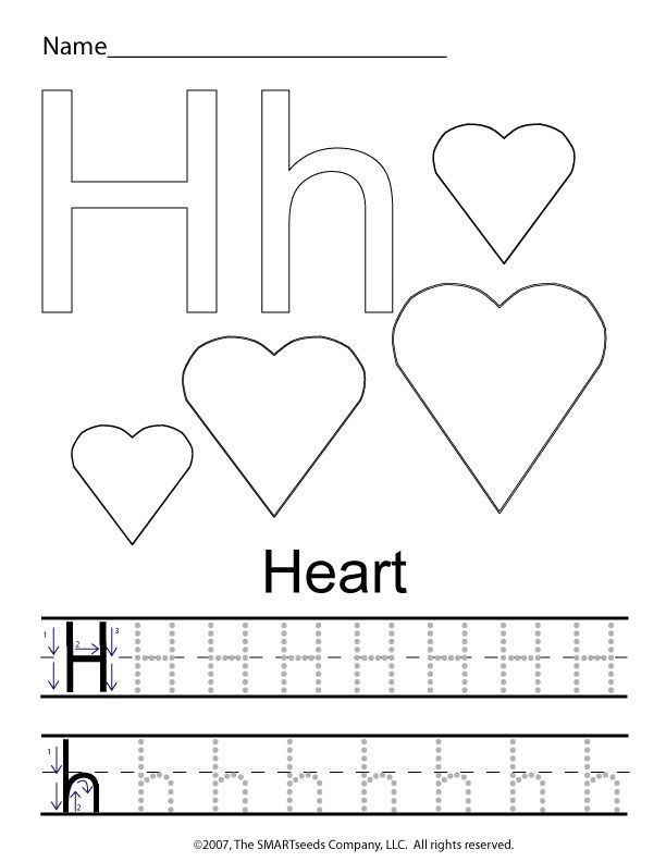 Preschool Letter H Worksheet the Letter H Trace Hearts