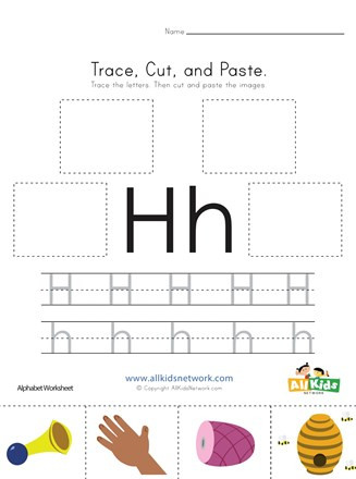 Preschool Letter H Worksheet Trace Cut and Paste Letter H Worksheet