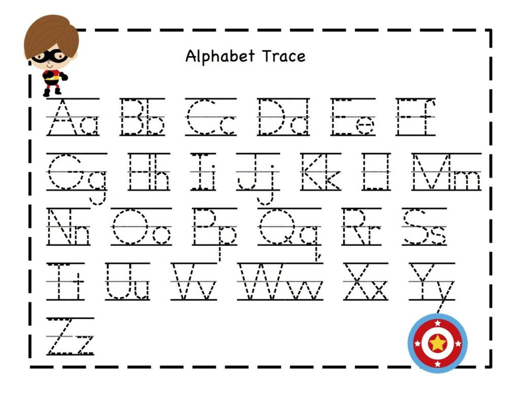 Printable Alphabet Tracing Worksheets Math Worksheet Super Hero Tracing Sheets Alphabet
