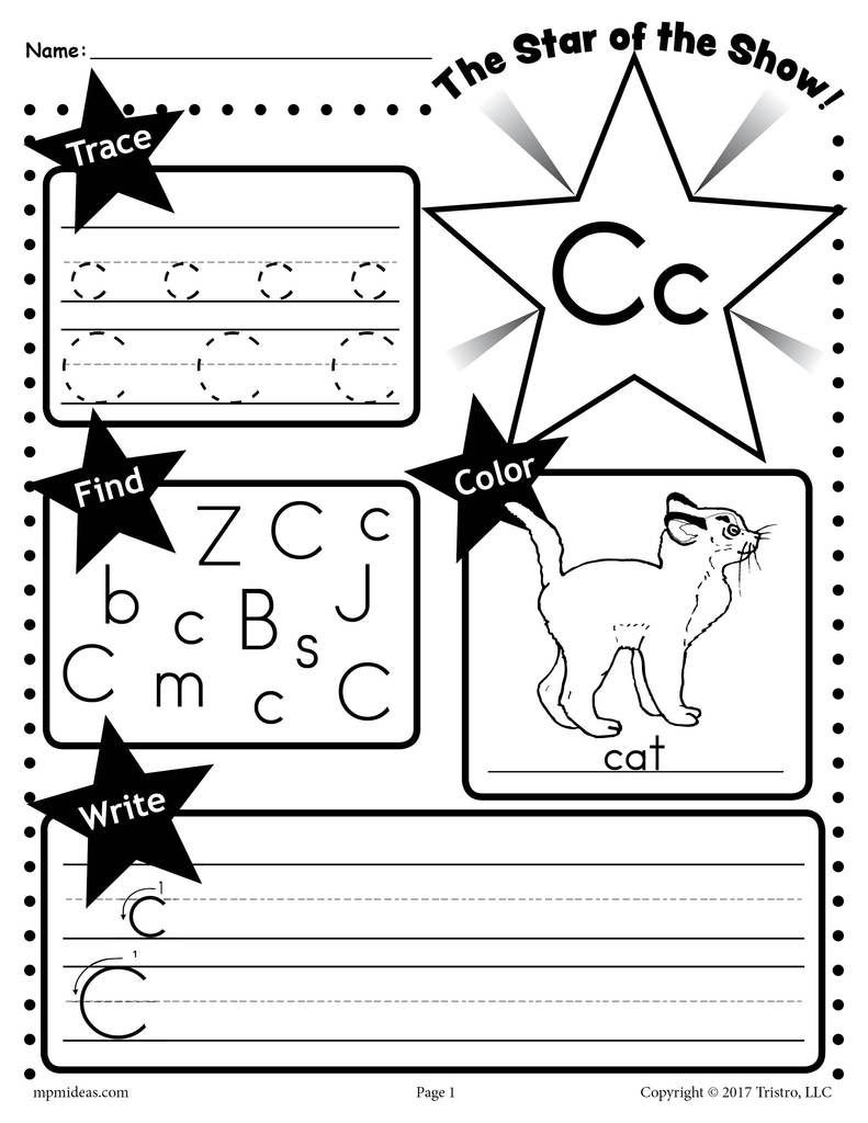Printable Letter C Worksheets Free Letter C Worksheet Tracing Coloring Writing & More
