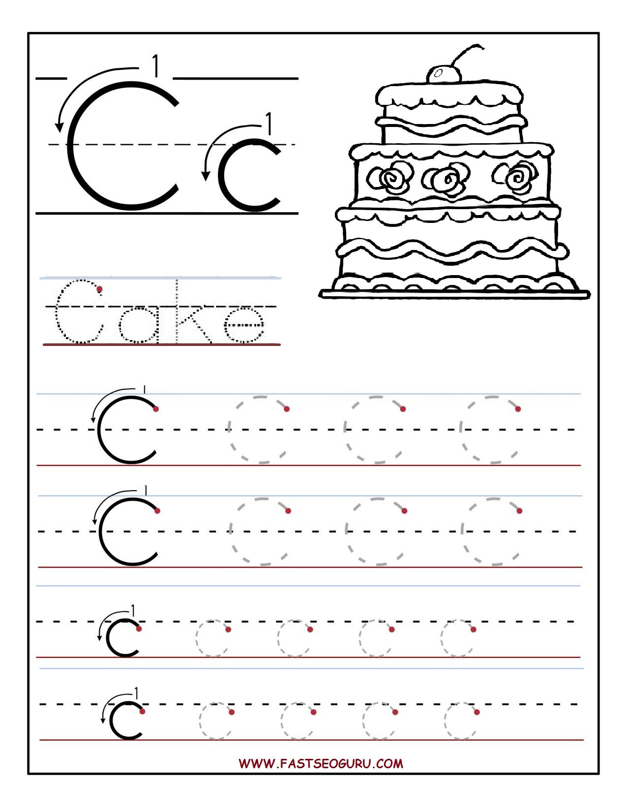 Printable Letter C Worksheets Printable Letter C Tracing Worksheets for Preschool
