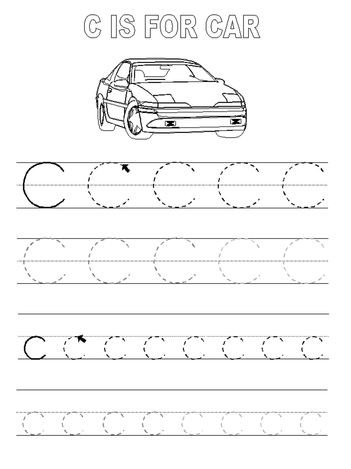 Printable Letter C Worksheets Trace Letter C Worksheets