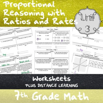 Proportional Reasoning Worksheets 7th Grade Proportional Reasoning W Ratios and Rates Unit 3 7th Grade Worksheets Distance