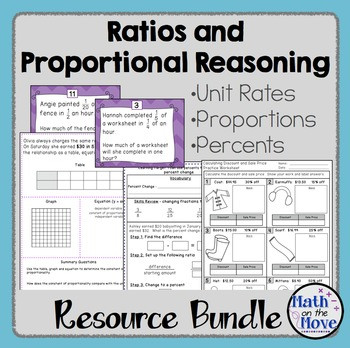 Proportional Reasoning Worksheets 7th Grade Ratios and Proportional Reasoning Bundle 7 Rp 1 7 Rp 3