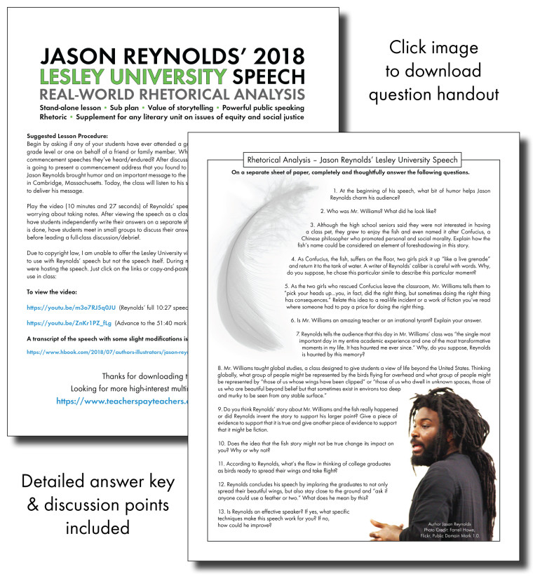 Public Speaking Worksheets High School Let Jason Reynolds Teach Your Class
