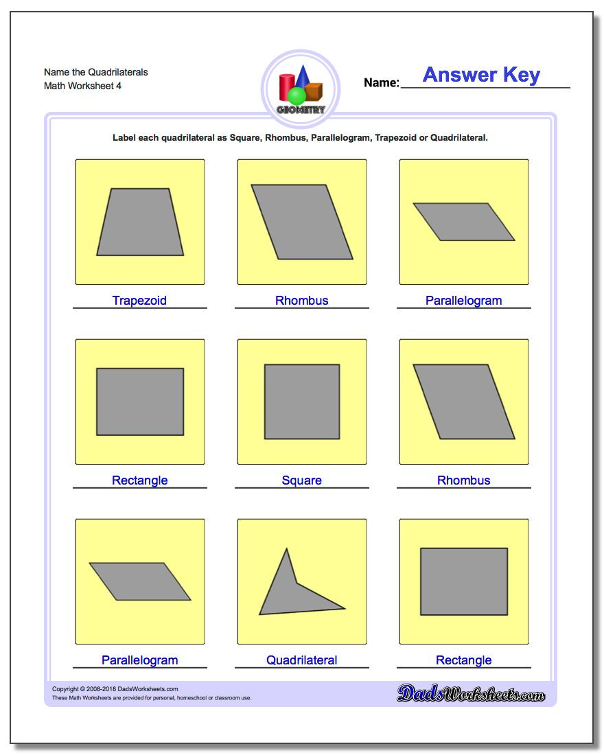 Quadrilateral Worksheets 4th Grade Basic Shapes