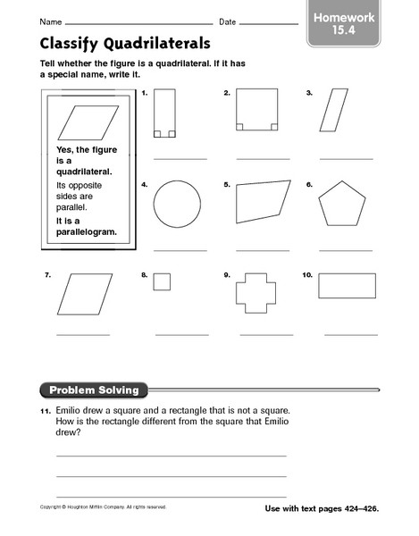 Quadrilateral Worksheets 4th Grade Classify Quadrilaterals Homework 15 4 Worksheet for 3rd