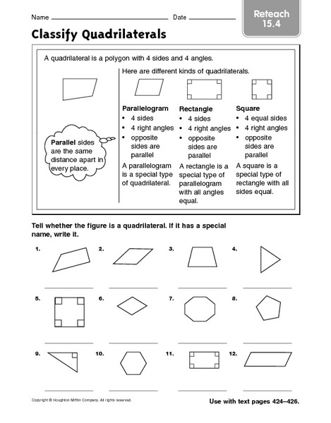 Quadrilateral Worksheets 4th Grade Classify Quadrilaterals Reteach 15 4 Worksheet for 3rd 4th