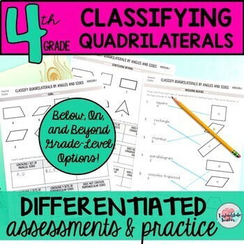 Classifying Quadrilaterals Worksheets 4th Grade Geometry 4G2 differentiated