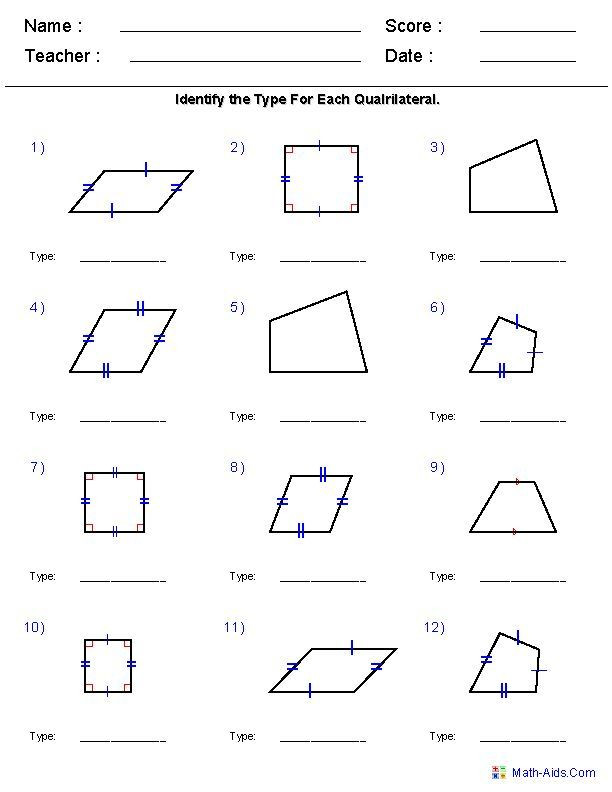 Quadrilateral Worksheets 4th Grade Geometry Worksheets