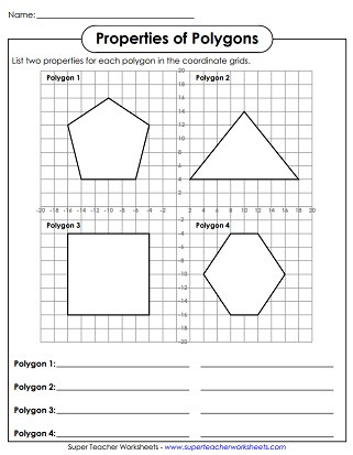 Quadrilateral Worksheets 4th Grade Polygon Worksheets