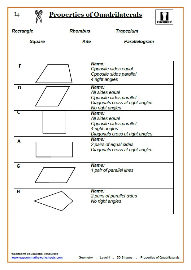 Quadrilateral Worksheets 4th Grade Printable Shapes Worksheets Free Maths Ks2 Quadrilaterals