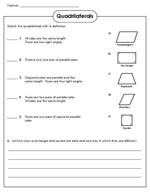 Quadrilateral Worksheets 4th Grade Quadrilateral Worksheets Grade 5