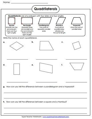 Quadrilateral Worksheets 4th Grade Quadrilaterals Worksheet