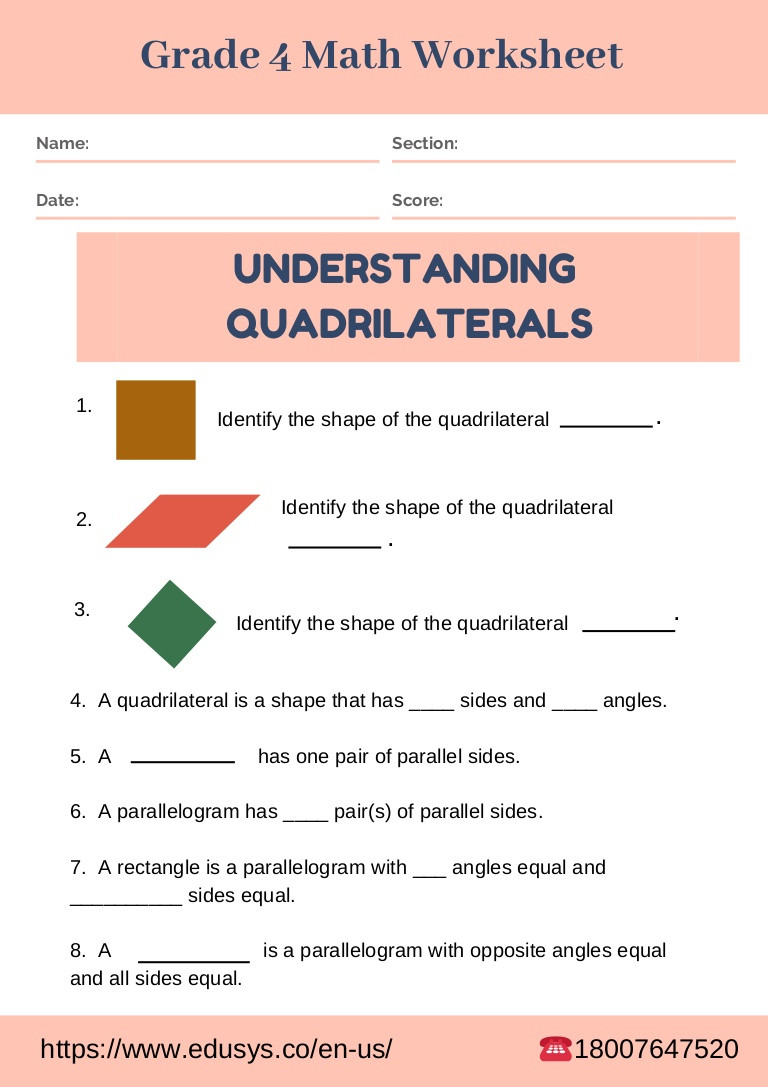 Quadrilateral Worksheets 4th Grade Worksheet 4th Grade Math Worksheet Quadrilaterals