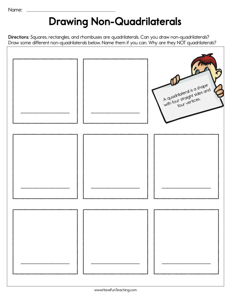 Quadrilaterals Worksheet 4th Grade Drawing Non Quadrilaterals Worksheet