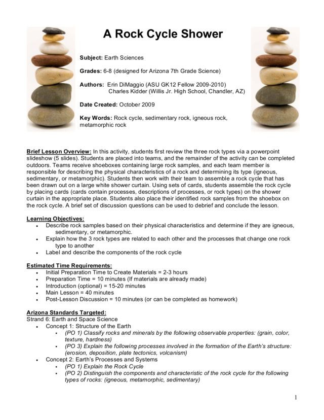 Rock Cycle Worksheet High School A Rock Cycle Shower Lesson Plan for 6th 8th Grade