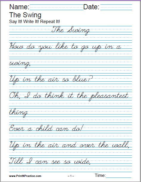 Second Grade Handwriting Worksheets Printable Handwriting Worksheets ⭐ Manuscript and Cursive
