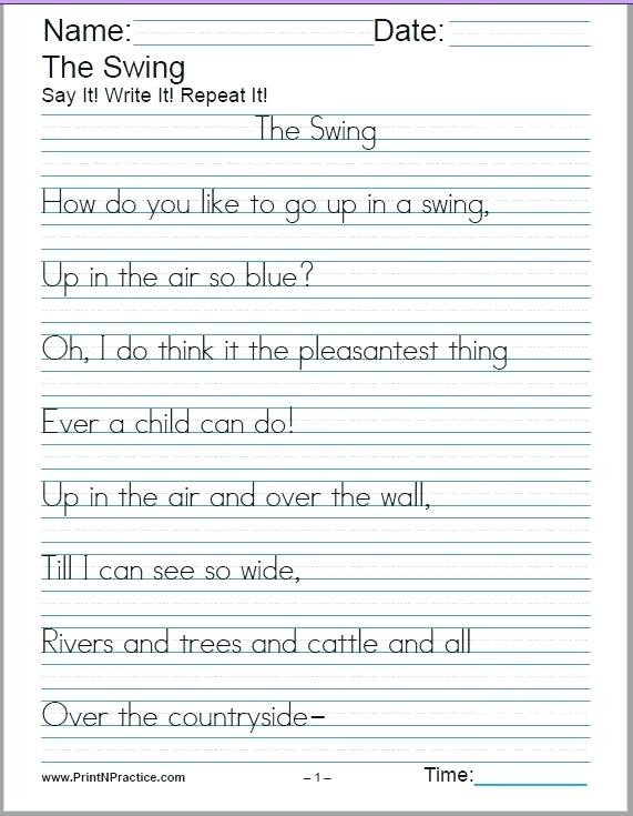 Second Grade Handwriting Worksheets to Handwriting Worksheets Leter Free for 3rd Grade Writing